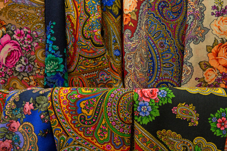 canva: Textile and fabric with ethnic patterns and ornaments Stock Photo