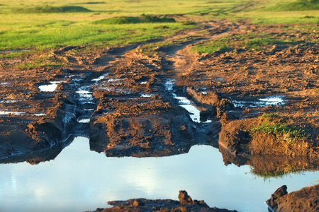 bumpy: Dirt road with mud, puddle and bad driving conditions Stock Photo