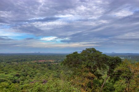 sigiriya: Landscape with tropical forest viewed from Sigiriya rock Stock Photo