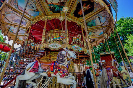 merry go round: Roundabout in park of Paris