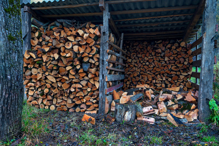 depot: Wood depot with bundle of firewood in a village Stock Photo