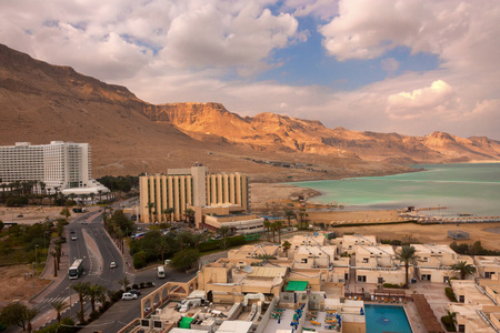 sediments: Vivid landscape of the shores and surface of the Dead Sea