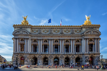 palais garnier: PARIS, FRANCE - JUNE 10, 2014: Palace Garnier.  Facade of Palace Garnier in June 10, 2014 in Paris. Palace Garnier is one of the most famous opera houses of the world
