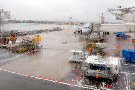 inappropriate: AMSTERDAM, NETHERLANDS - CIRCA JANUARY 2015: Amsterdam Airport Schiphol in Netherlands in January 2015. Everyday in the world hundreds flights are canceled or delayed because of weather inappropriate for flying