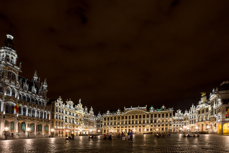 place of interest: BRUSSELS, BELGIUM - CIRCA JUNE, 2014: Stunning photo of spectacular Grand Place main square by night. Grand Place is main place of interest in city of Brussels