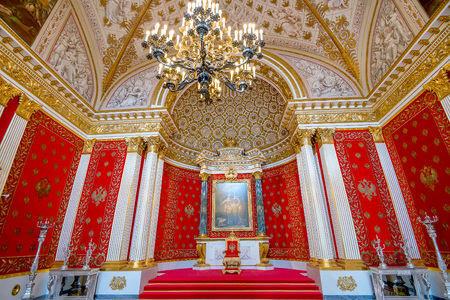 SAINT PETERSBURG, RUSSIA - JULY 11, 2015: The State Hermitage Museum, St Georges Hall is Great Throne Room and one of the largest state rooms on July 11, 2015 in the Winter Palace, St Petersburg.