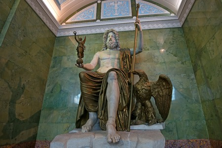remained: ST PETERSBURG, RUSSIA - JUNE 10, 2015: Statue of Jupiter in Jupiter Hall of Hermitage museum in June 10, 2015 in Saint Petersburg. This is one of the biggest antique sculptures remained up to present time