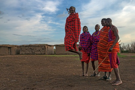 maasai: MAASAI VILLAGE, KENYA - JANUARY 2 2015: Tourists visit maasai village near Maasai Mara. Watching traditions of local tribes is one of the most popular attraction for tourists who come to Kenya.