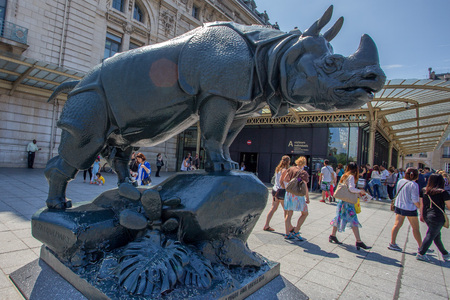 henri: PARIS - CIRCA JUNE 2014: Rhino sculpture by Henri Alfred Jacquemart near DOrsay museum in June, 2014 in Paris, France. The Musee dOrsay is a museum in Paris, on the left bank of the Seine. Editorial