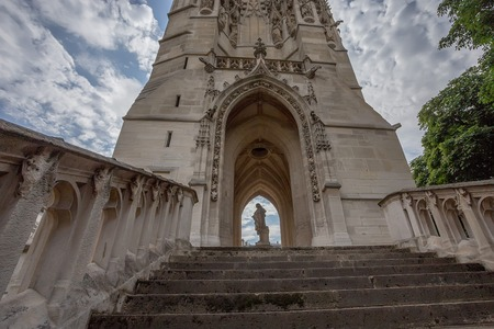 flamboyant: Saint-Jacques Tower or Tour Saint-Jacques  in Paris, France. This 52 m Flamboyant Gothic tower with the  statue of Blaise Pascal is located at the base of the tower