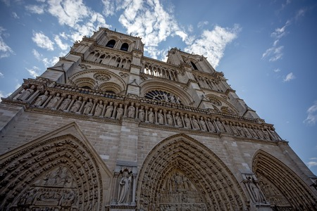 french ethnicity: Facade of Cathedral Notre Dame de Paris, France