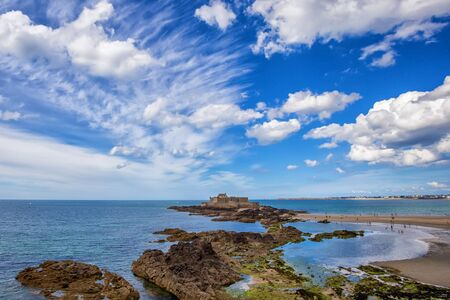st malo: Fort National in the evening in Saint-Malo, Brittany, France, Beautiful coastline and sky