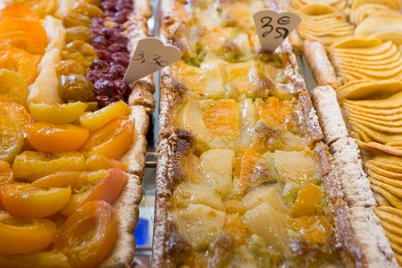 confectionary: Variety of fruit pies in confectionary shop