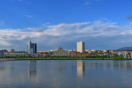 Scenic view on Kazan with moder buildings and river