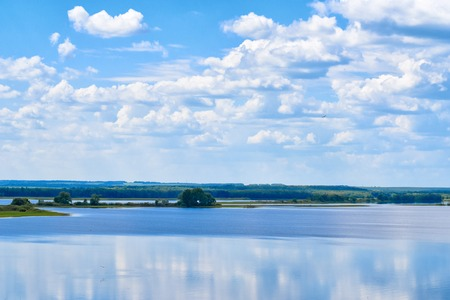 the volga river: Amazing panoramic view of Volga river in picturesque part of central Russia Stock Photo