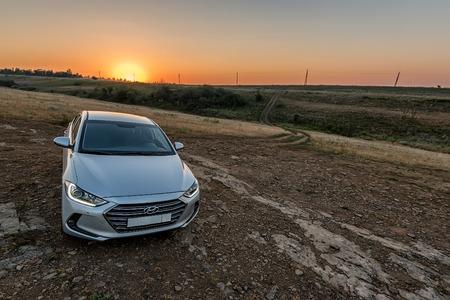 new generation: ROSTOVSKAYA OBLAST, RUSSIAN FEDERATION - CIRCA JULY 2016: New generation of Hyundai Elantra presented in 2016 during its test drive