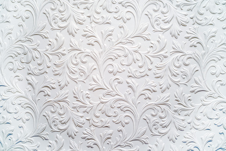 antique wallpaper: White plaster relief background floral pattern in baroque style