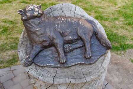 nipples: Bronze sculpture of fat lying cat in Kazan