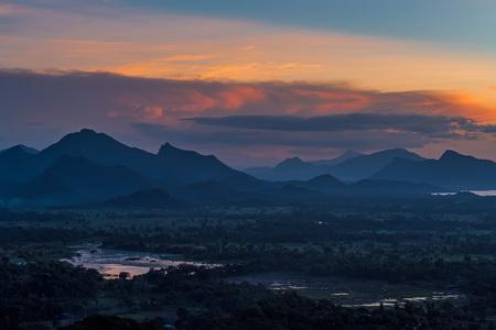 Beautiful scenic sunset view from Sigiriya with dramatic sky in twighlights