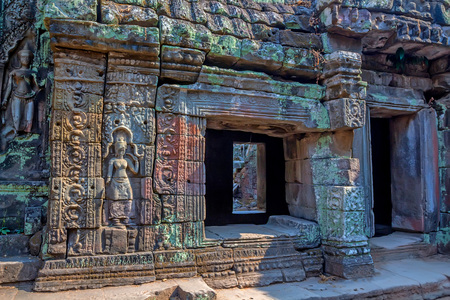 ancient architecture: Details of stone carvings at Ta Prohm Temple