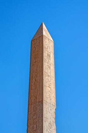 Obelisk in the ruins of Karnak temple Stock Photo