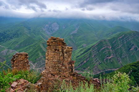 dagestan: Abandoned village Gamsutl in Dagestan Stock Photo
