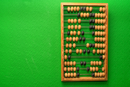Vintage abacus on green background