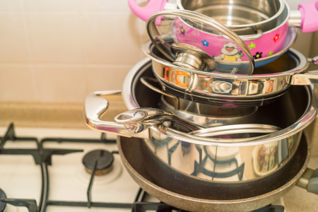 Dishes and pans Stock Photo