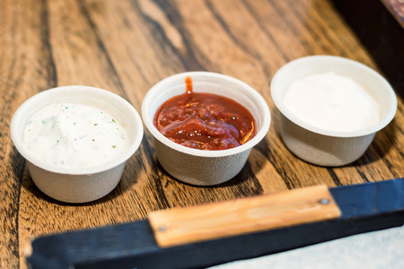 whig: Homemade red and white sauces Stock Photo