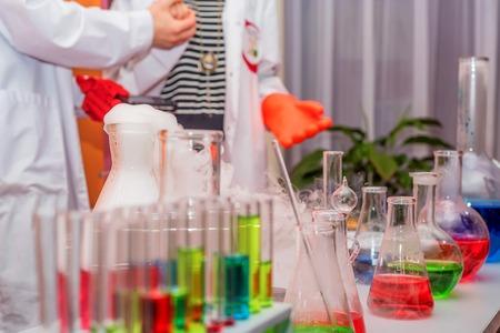 Laboratory test-tubes and retorts Фото со стока