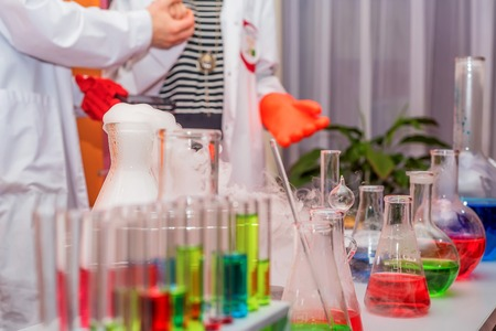 Laboratory test-tubes and retorts Foto de archivo