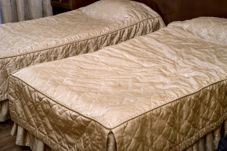 luxury apartment: Twin beds in a hotel room close up