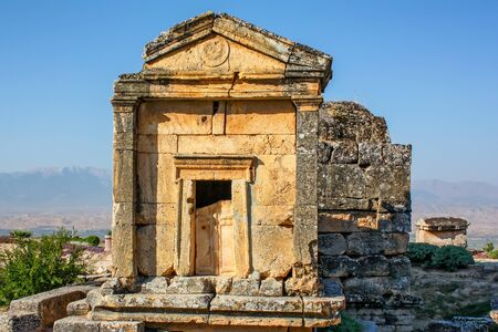 Nekropolis of Hierapolis ancient city view Stock Photo