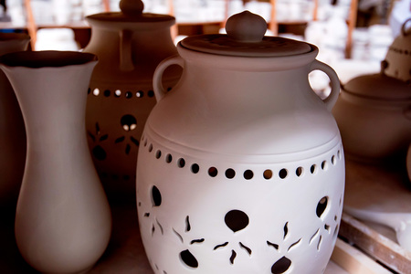 Close up earthenware ceramic vase