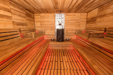 Empty wooden sauna interior Stock Photo