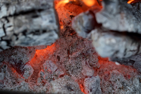 Coal and ember in fire Stock Photo