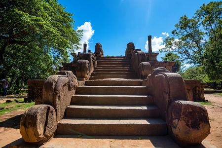 vihara: Stairway of Audience Hall of king Parakramabahu Stock Photo