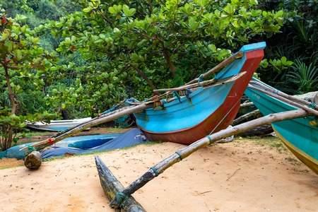Sri Lankan native boats or catamarans Stock Photo - 87173689