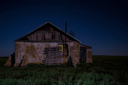 Night landscape with abandoned spooky house Stock Photo