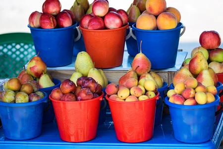 Fruits for sale on market harvest concept