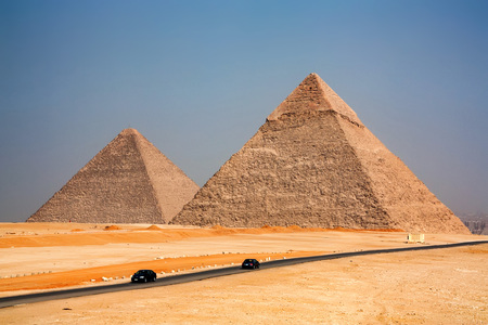 The Great Pyramids towering beyond Giza city