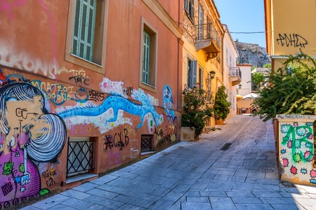 ATHENS, GREECE - JUNE, 2011: Central street with graffiti Editorial