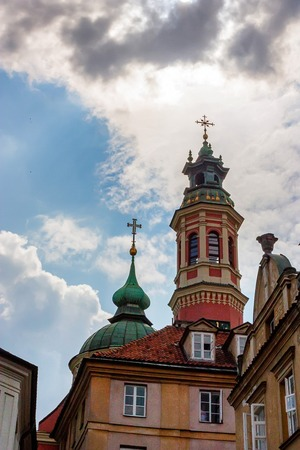 View of church in old town in Warsaw, Poland