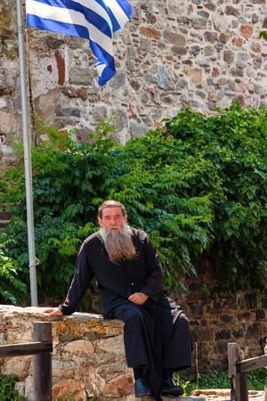 MOUNT ATHOS, GREECE - JUNE 2012: Orthodox priest Editorial