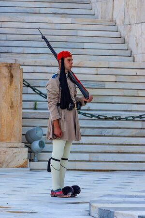 ATHENS, GREECE - JUNE, 2011: Evzone guard