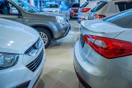 prestigious: New cars at dealer showroom