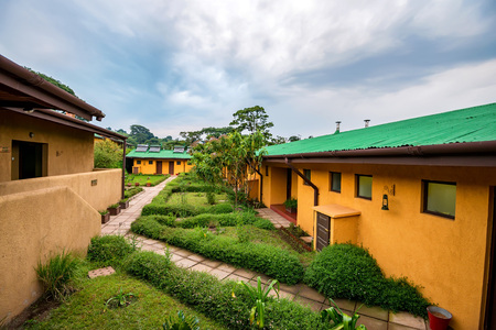 View of lodges and villas at tropical destination Stock Photo
