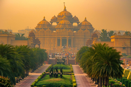 Facade of a temple Akshardham in Delhi, India