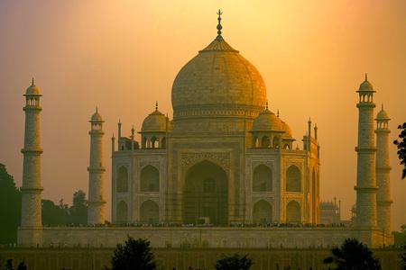 Taj Mahal scenic sunset view in Agra, India.