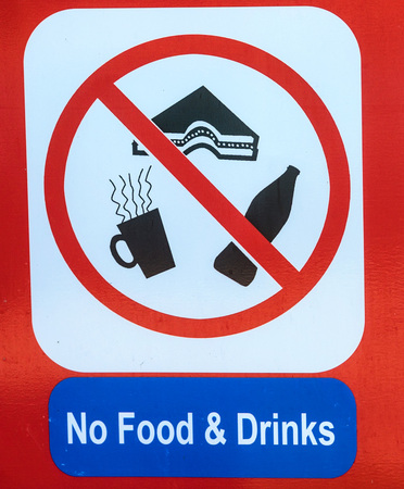 No food or drinks sign close up